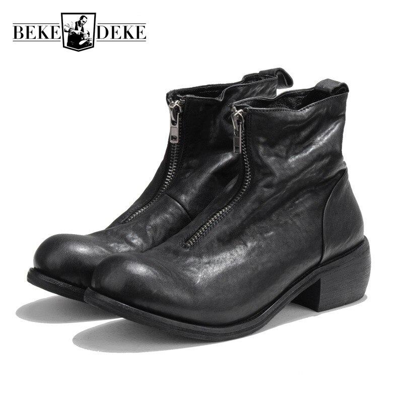 Ayakk.'ten Basic Çizmeler'de Vintage Hakiki Deri Zip Çizmeler Yuvarlak Ayak Bileği binici çizmeleri Lüks Marka Erkekler rahat ayakkabılar Beyaz Yüksek Top Sneakers 38  44'da  Grup 1