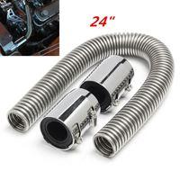 24 Flexible Stainless Steel Universal Radiator Coolant Water Hose Kit w/ Chrome Caps V8