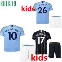 Manchester city camisa ESTERLINA G. JESUS SANE KOMPANY SILVA KUN AGUERO DE  BRUYNE MAHREZ 2019 crianças kit de futebol camisa de . 293348f83f4f2
