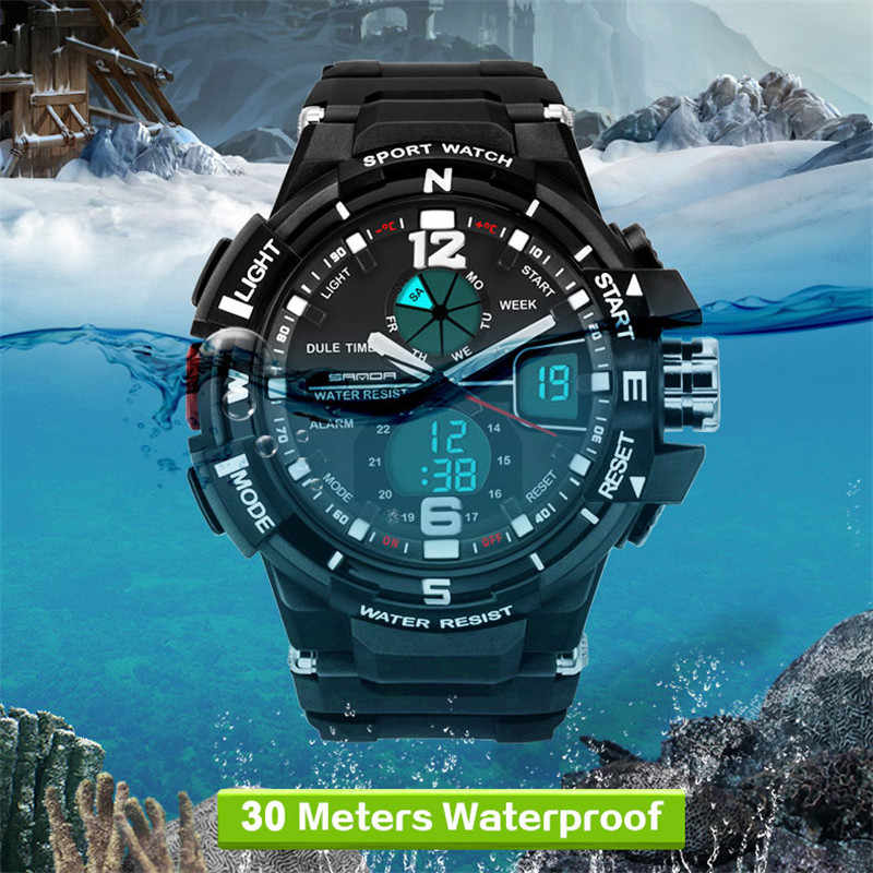SANDA G גברים שעון יד אופנה עמיד למים LED ספורט צפה צבאי גברים אנלוגי קוורץ שעון דיגיטלי שעון עמיד בפני זעזועים זכר