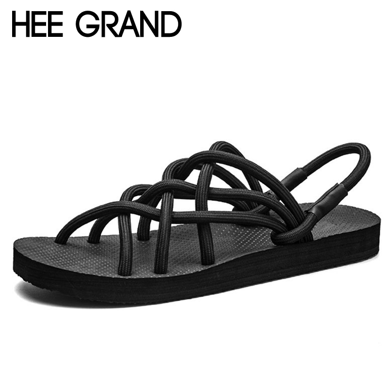 HEE GRAND 2018 Narrow Band Sandals Unisex Summer Creepers Casual Slip On Shoes Woman Sexy Fashion Flats With Size 35-44 XWZ4535 gladiator sandals 2017 summer style comfort flats casual creepers platform pu shoes woman casual beach black sandals plus us 8