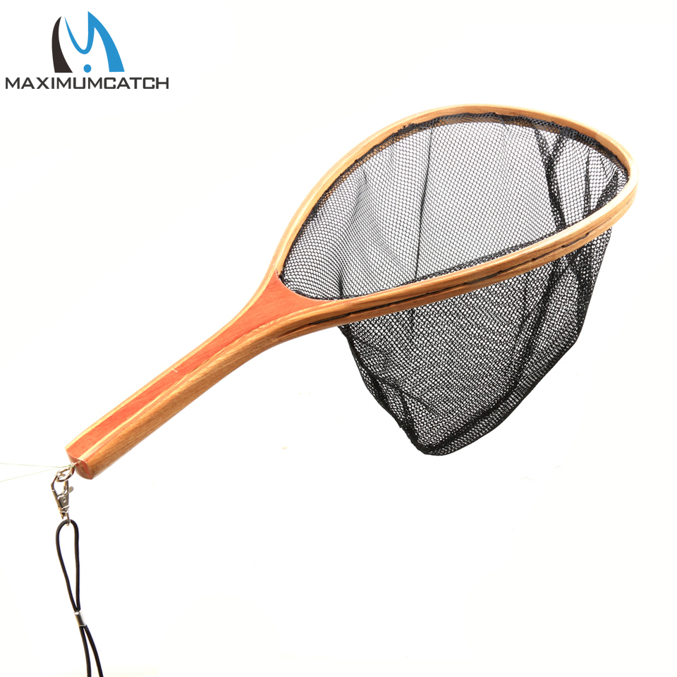 Maximumcatch fly fishing landing net wooden handle nylon for Fish catching net