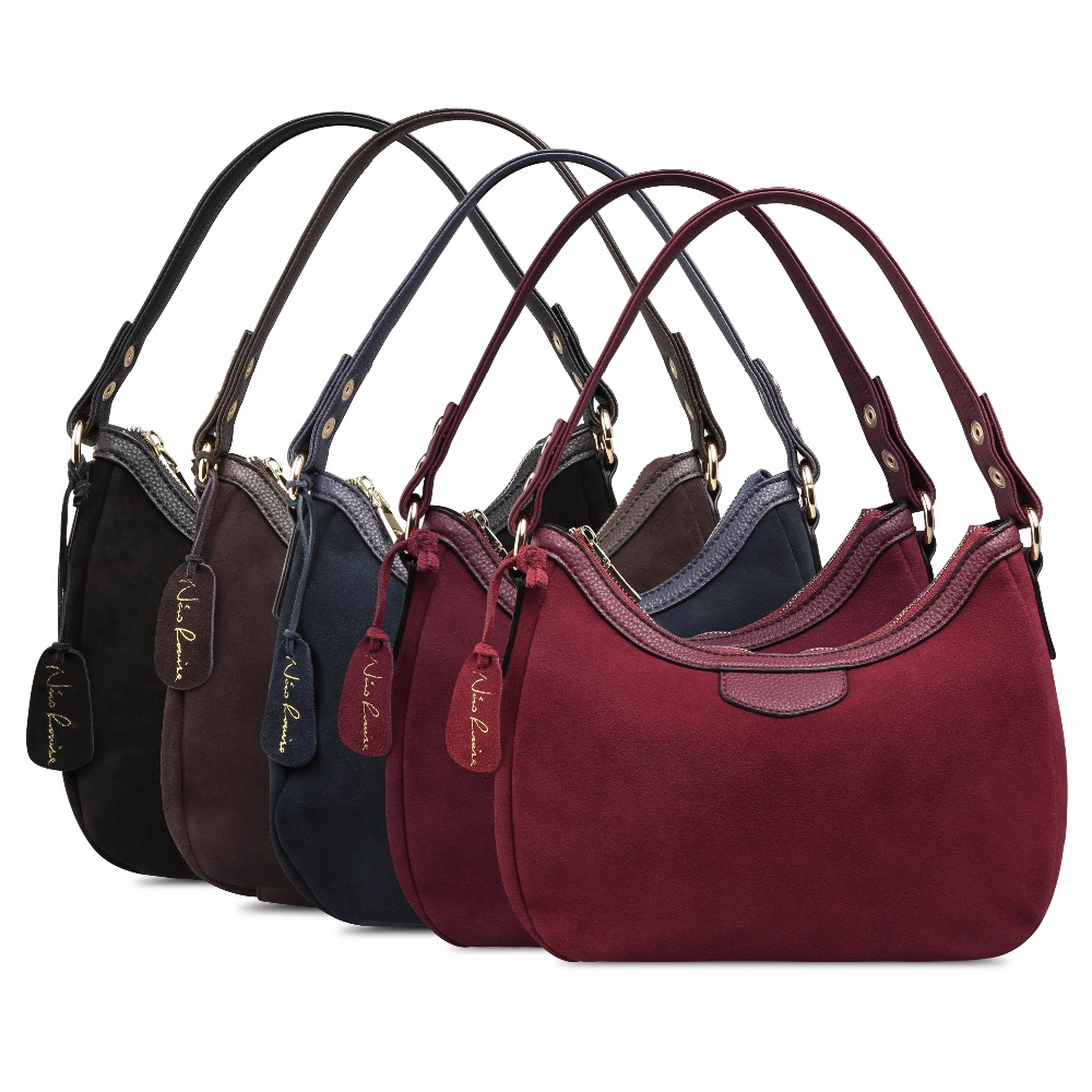 Image 5 - 2018 New Women Real Suede Leather Small Shoulder Bag Brand Female Leisure Cossbody Hobo Handbag For Lady Blosa Top handle Bags-in Top-Handle Bags from Luggage & Bags