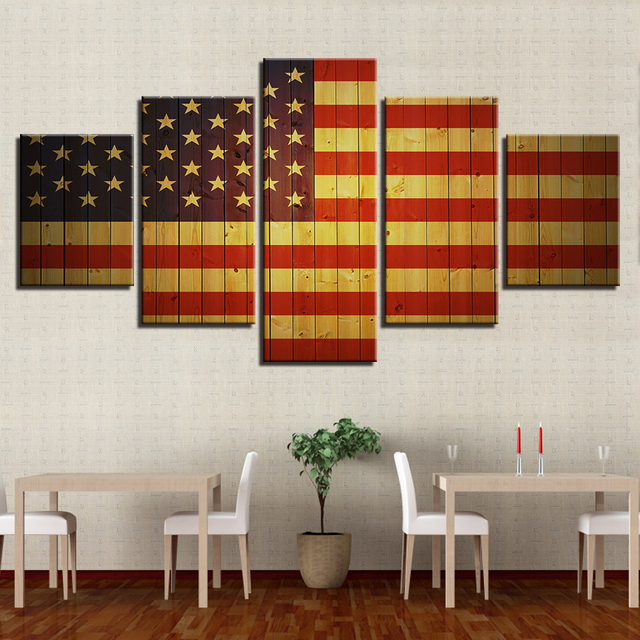 Pictures Framework Canvas Modular Painting 5 Panel American Flag Wall Art  Modern Living Room Fashion Decorative