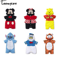 0b37c5fa1b Teenster Baby Girl Clothes 2019 Short Sleeve Hooded Rompers Boy Costume  Toddler Outfit Minnie Duck Mickey. Teenster ropa de bebé niña