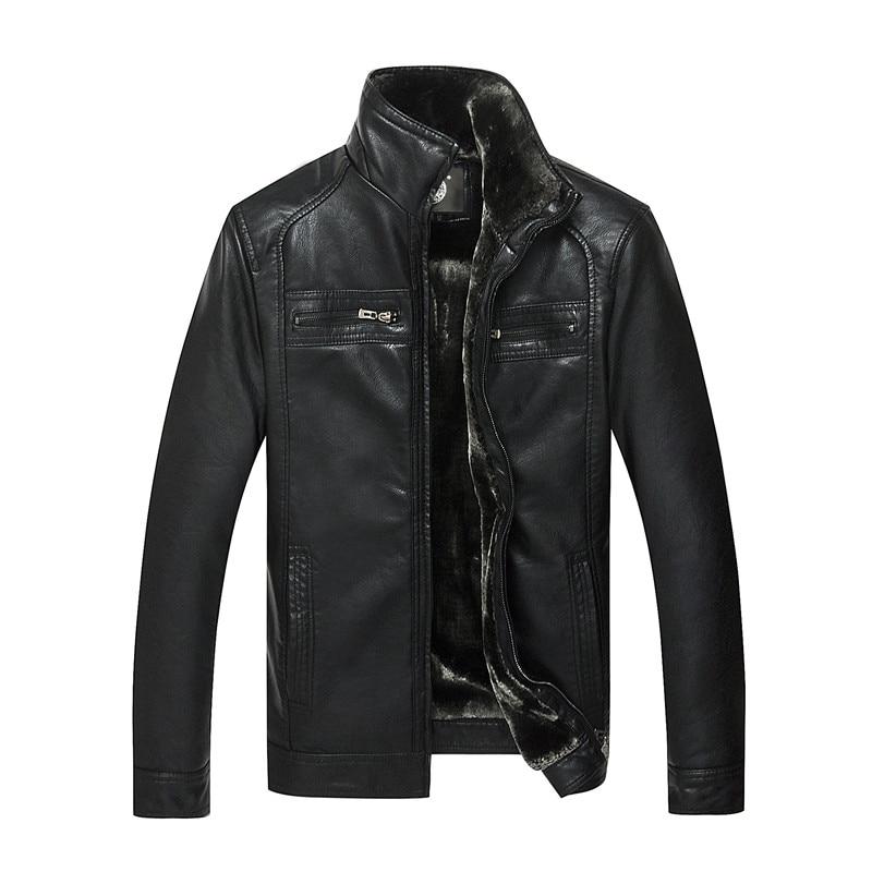все цены на AIBIANOCEL 2016 Men Faux Leather Jacket Winter Warm Men Thicken Leather Jacket Jaqueta De Couro Masculina Faux Fur Coats For Man