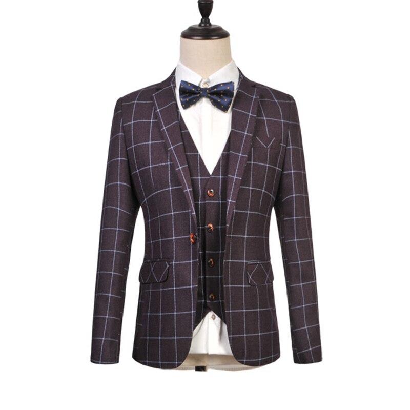 Fashion Business Mans Suit Plaid One Single Button Weeding Groom Suits Slim Fit Homme Tuxedo Plus