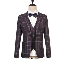 Fashion Business Mans Suit Plaid One Single Button Weeding Groom Suits Slim Fit Homme Tuxedo Plus Size (Jacket+Pant+Vest)