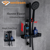 Senlesen Bathroom Shower Faucet Oil Rubbed Bronze Wall Mounted Hot And Cold Water Mixer Tap Single