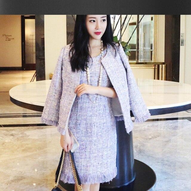 Purple Tweed Jacket Sleeveless Dress Suit Sequin 2018 Spring