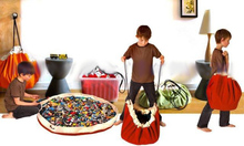 Diameter 100cm 39″  Kids Toy Storage Bags & Play Mat Two Drawstring Organization Bin Box Storage Mat Portable Hanging Organizers