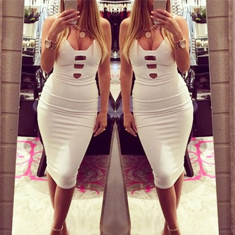 2018 Women Sexy Dresses Summer Sleeveless Tight Bodycon Dresses Women Party Dress Sexy Clubwear Midi Dress