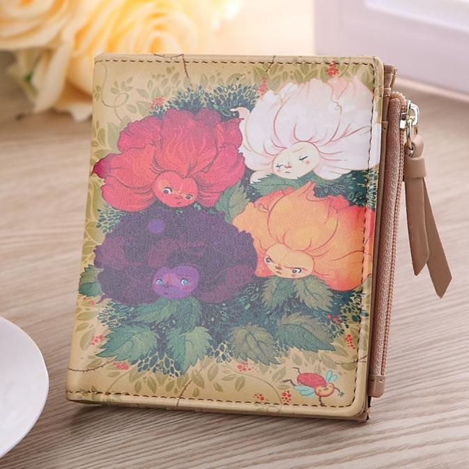 Women Wallet Flower Fairy Print Coin Purse Card Holder