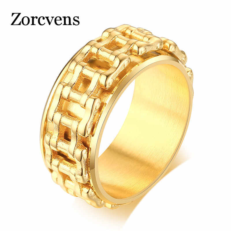ZORCVENS золотой цвет хоп мужское кольцо для велосипедистов, в виде велосипедной цепи из нержавеющей стали Свадебные бренды Спиннер рок мужские ювелирные изделия