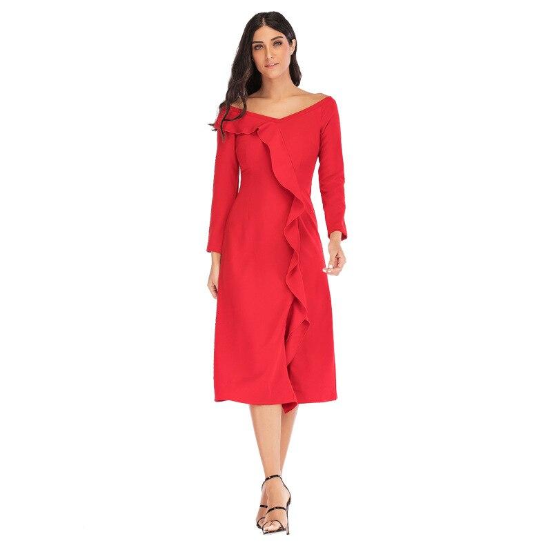 cou blue green Taille Tenue Haute Fête Mode V Couleur white navy Red Unie Mince Black wine Mariage Robe Pour red De Blue Femmes 7fqwYZaZ