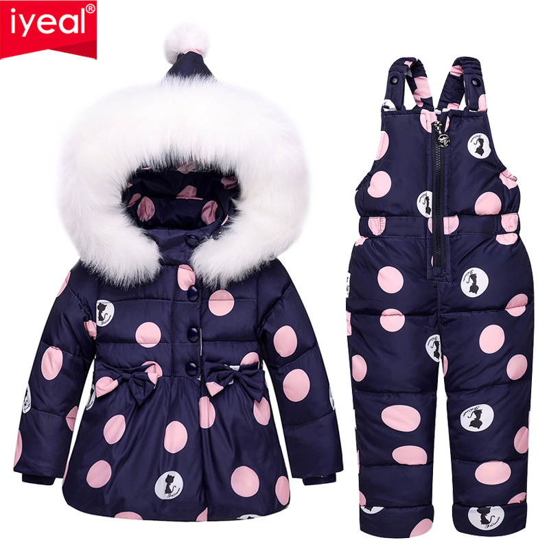 Iyeal зимние комплекты одежды для девочек теплый с капюшоном утка пуховое пальто + Мотобрюки Водонепроницаемый Snowsuit Одежда для малышей