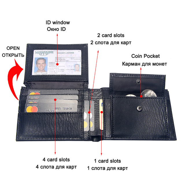 Casual Men's Wallets Leather Solid Luxury Wallet Men Pu Leather Slim Bifold Short Purses Credit Card Holder Business Male Purse 4