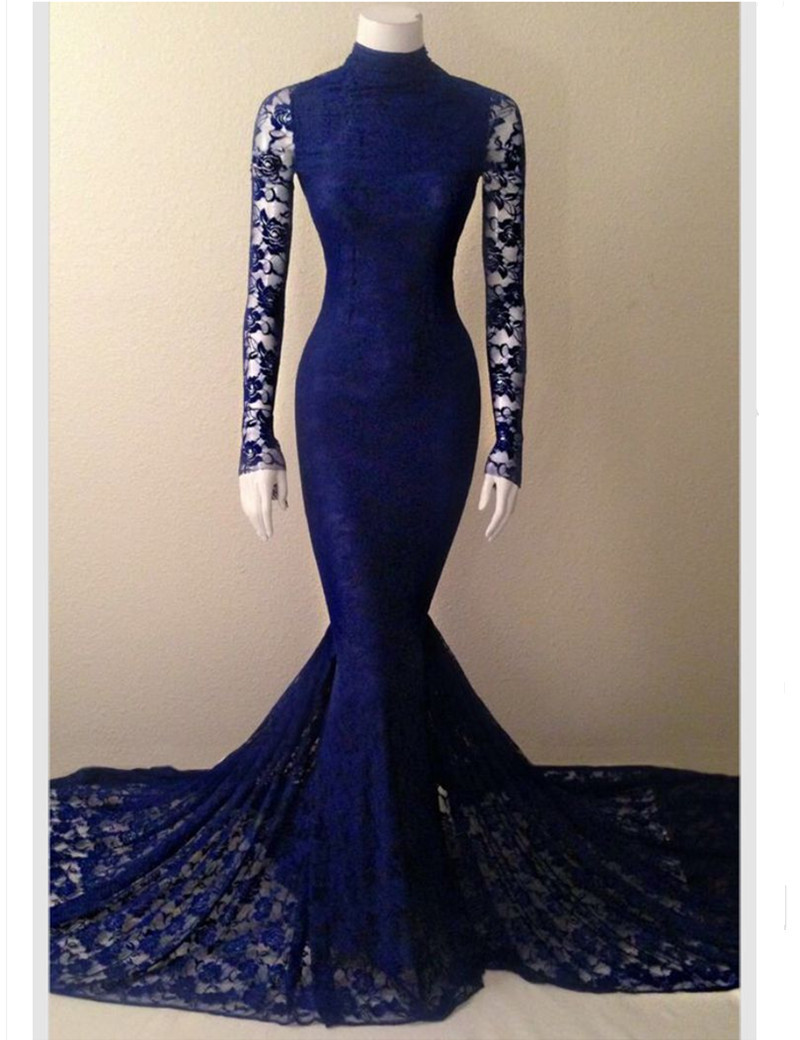 Royal Blue Mermaid Lace Prom Dress Promotion-Shop for Promotional ...