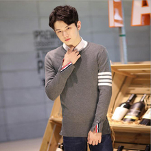 2016 Fashion Autumn Winter font b Men s b font Patchwork Long Sleeve O Neck Pullovers