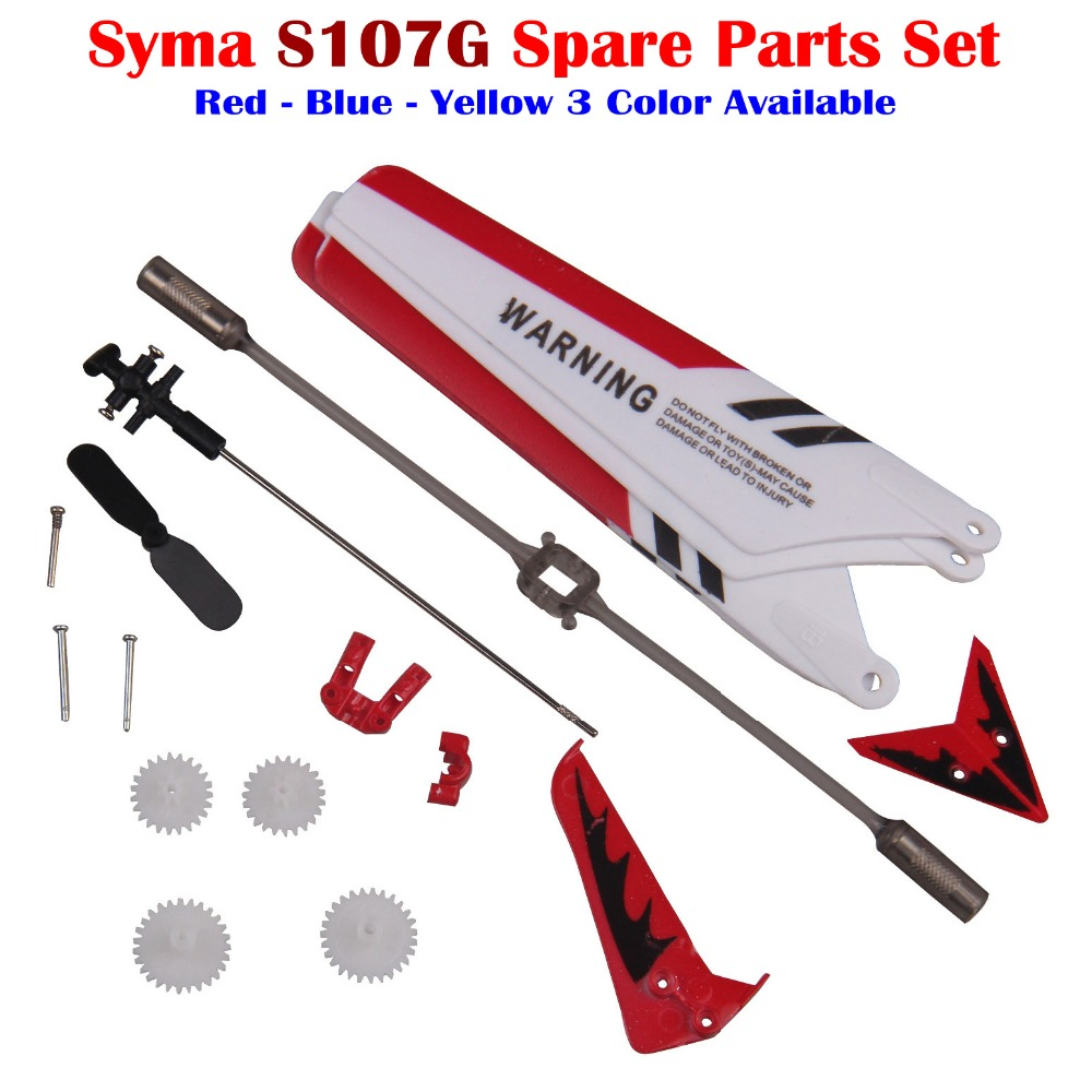 For Syma S107 S107G RC Helicopter Replacement Parts Blades Shaft Tail Decorations Tail Balance Bar Gear