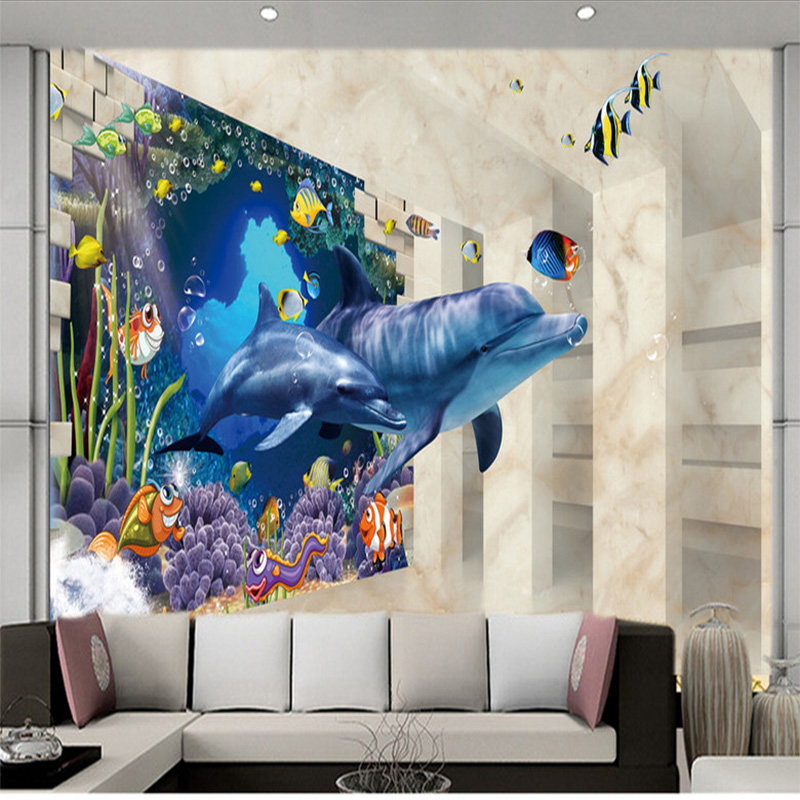 Living Room Wall Murals popular dolphin wall mural-buy cheap dolphin wall mural lots from
