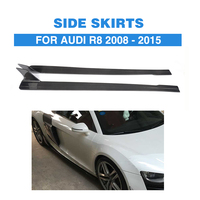 Carbon Fiber Side Skirts Extension Aprons for Audi R8 2008 2015 Auto Racing Car Styling Side Bumper Skirts Body kit