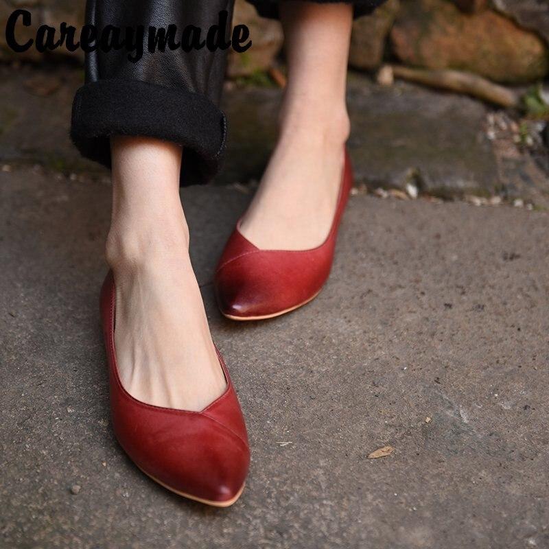 Careaymade-la chaussure unique originale innovante en peau de vache pointue à semelle plate confortable à bouche légère