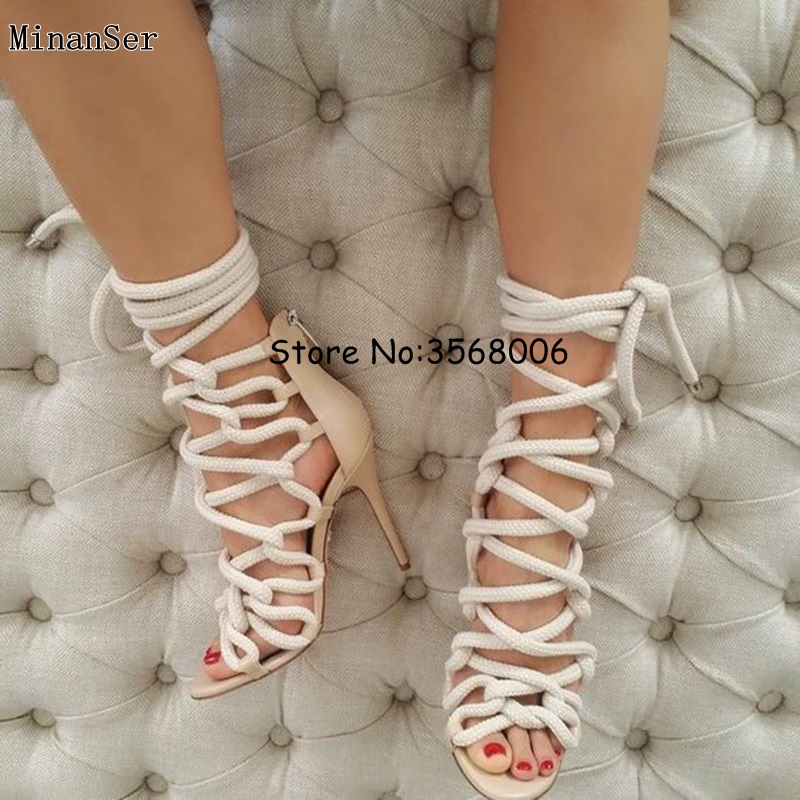 8be11a31fc35 Newest Designer Rope Braided Lace up High Heel Sandal Sexy Open toe Cut out  Gladiator Strappy Sandal Boots Women Dress Shoes-in High Heels from Shoes  on ...