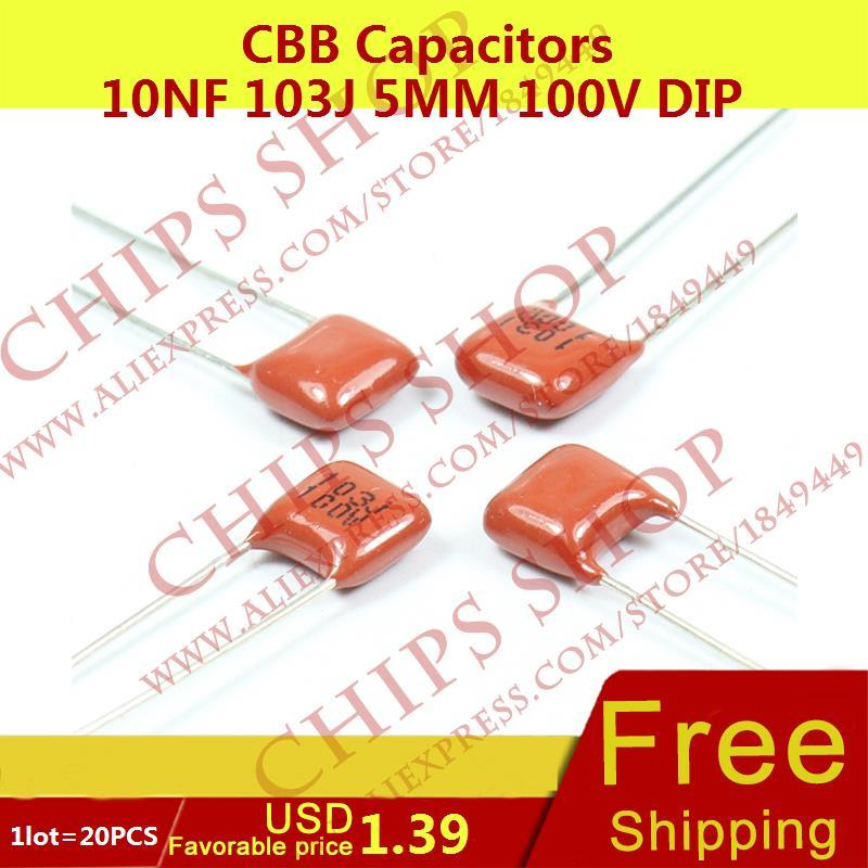 1LOT=20PCS CBB Capacitors 10nF 103J 5MM 100V DIP 10000pF 0.01uF