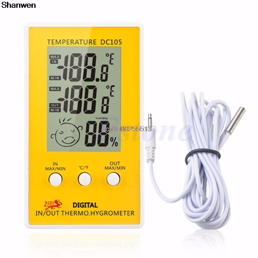 Digital LCD Indoor Outdoor Humidity Thermometer Hygrometer Meter Probe Cable C/F