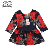Newborn Infant Baby Girls Rose Floral Print O-Neck Long Sleeve Pullover Cute Party Dress Clothes