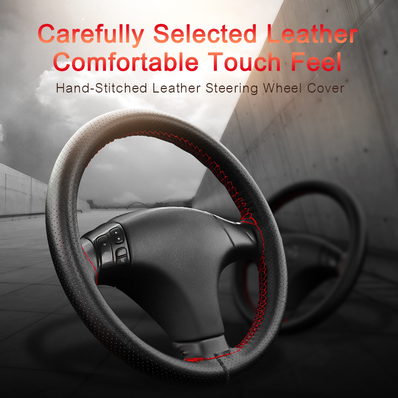worldwide delivery genuine leather steering wheel cover 38 cm ingnupme diy genuine leather car steering wheel cover soft anti slip 100% cowhide braid with needles thread 36 38 40 cm size