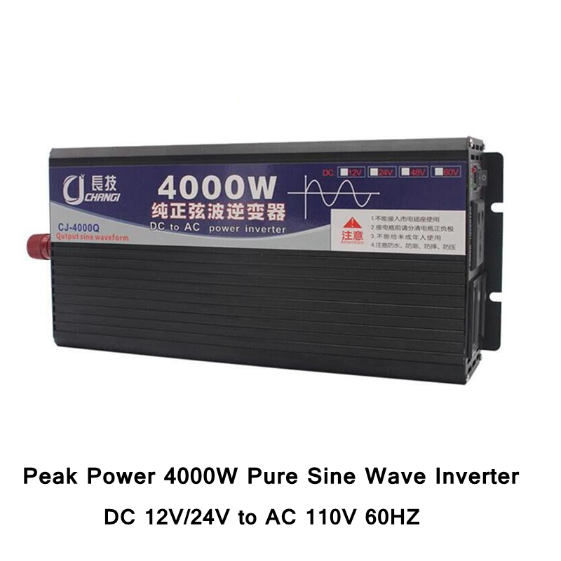 Peak Power 4000W Pure Sine Wave Inverter DC 12V/24V to AC 110V 60HZ 4000W Power Converter with Dual LCD Display 7 Protections 2000 watt 2000w pure sine wave power inverter with ce dc 12v to ac 220v 240v rohs approved 4000 4000w peak power
