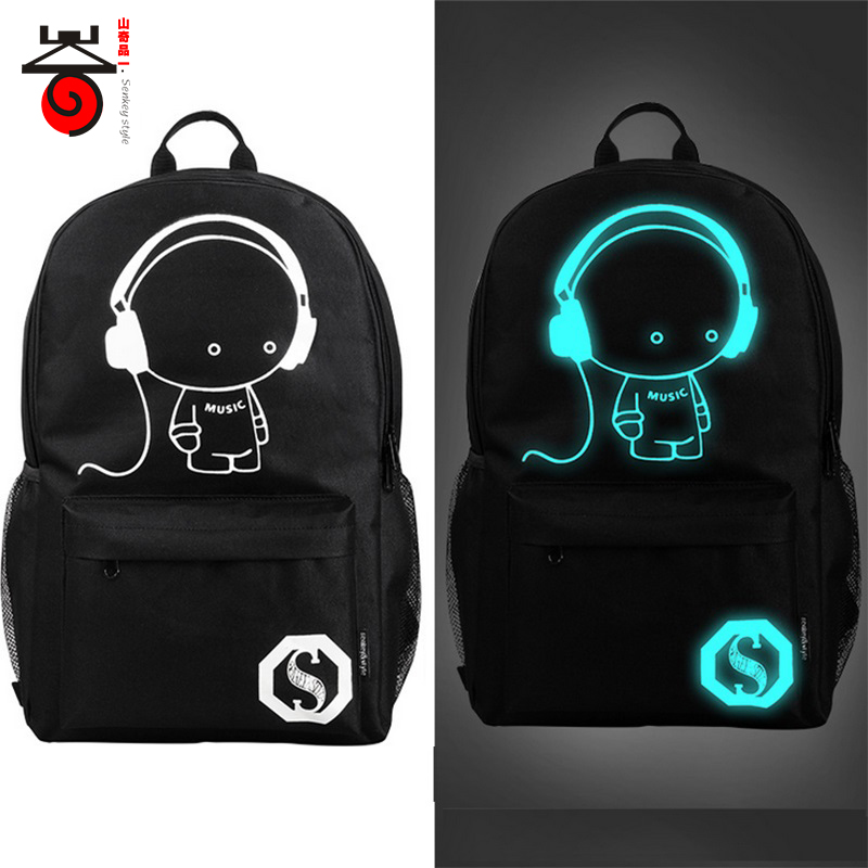 Senkey style Fashion Noctilucent Men's Backpack Anime Luminous Teenagers Men Women's Student Cartoon School Bags Casual Backpack