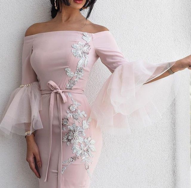 SuperKimJo 2018 Pink Mermaid Evening Dresses Long Arabic Applique Beaded  Evening Gown Vestido De Festa Longo 84a7dbe0c2ee