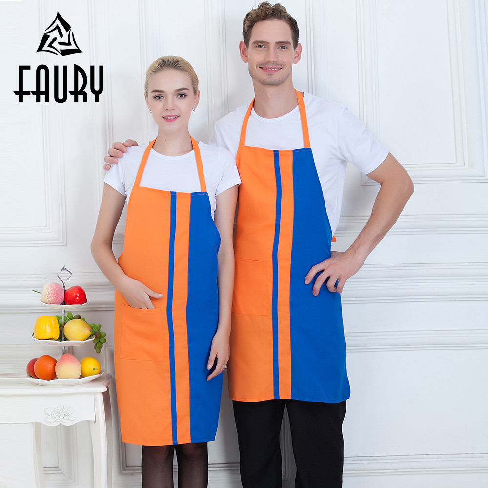 Wholesale Unisex Stitching Color Halter Neck Food Service Restaurant Chef Apron Kitchen Cooking Cleaning Waiter Work Uniform