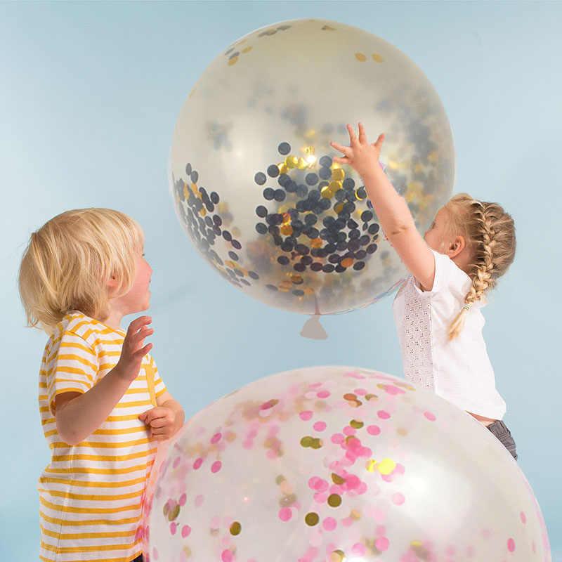 2 Buah 45 Cm Tiup Besar Confetti Balon Ball Baby Shower 18 Inch Lateks Jelas Ballon Pesta Ulang Tahun Dekorasi Balon