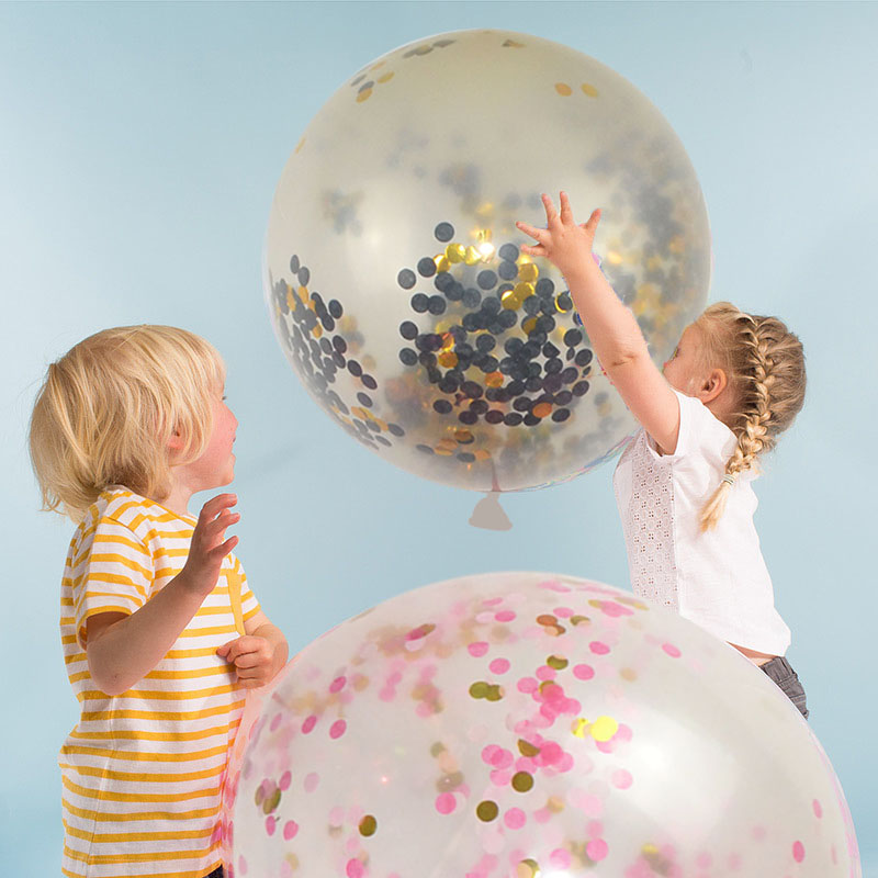 2Pcs 45cm <font><b>Big</b></font> Inflatable Confetti <font><b>Balloon</b></font> Ball Baby Shower 18inch <font><b>Latex</b></font> Clear Ballon Birthday Party Decoration Ballons image