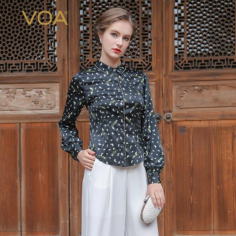 VOA Long Sleeve Polka Dot Pure Silk font b Women b font font b Shirt b