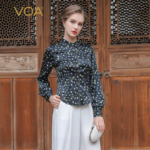 VOA Long Sleeve Polka Dot Pure Silk Women Shirt Formal Turn-Down Collar  Blouse B1069 Custom Fit