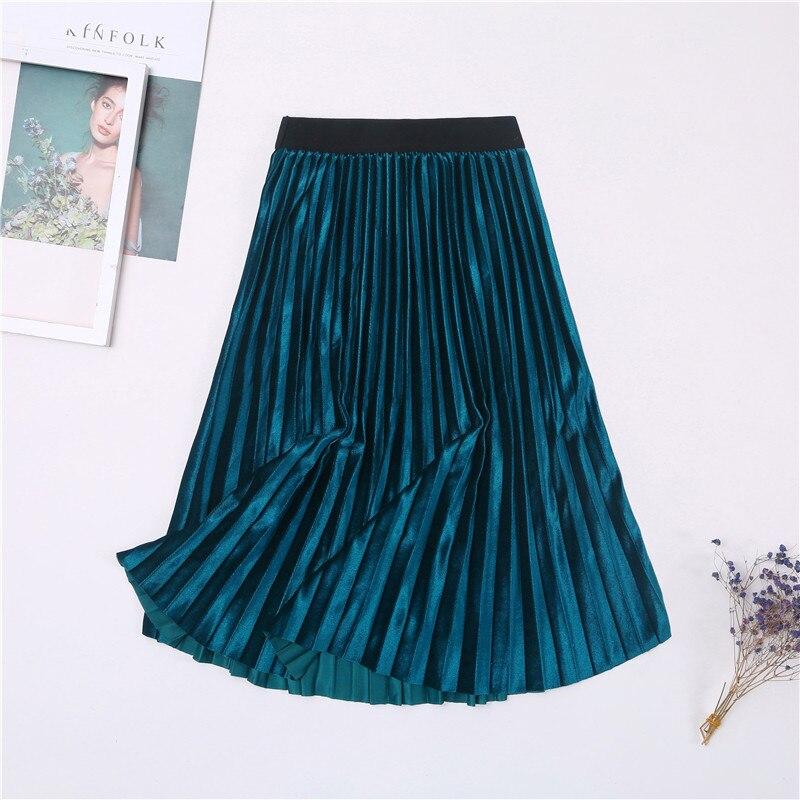Ladies Vintage Autumn Winter Women Velvet Skirt High Waisted Elegant Sexy Skinny Black Pleated Skirts Female