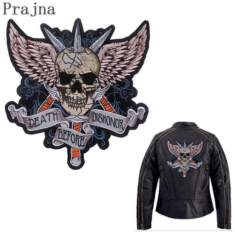 Prajna Stalker Skull Patch Big Motorcycle Jacket Patches Rock Wings Biker Iron On Ironing Embroidered Patches For Clothes Stripe