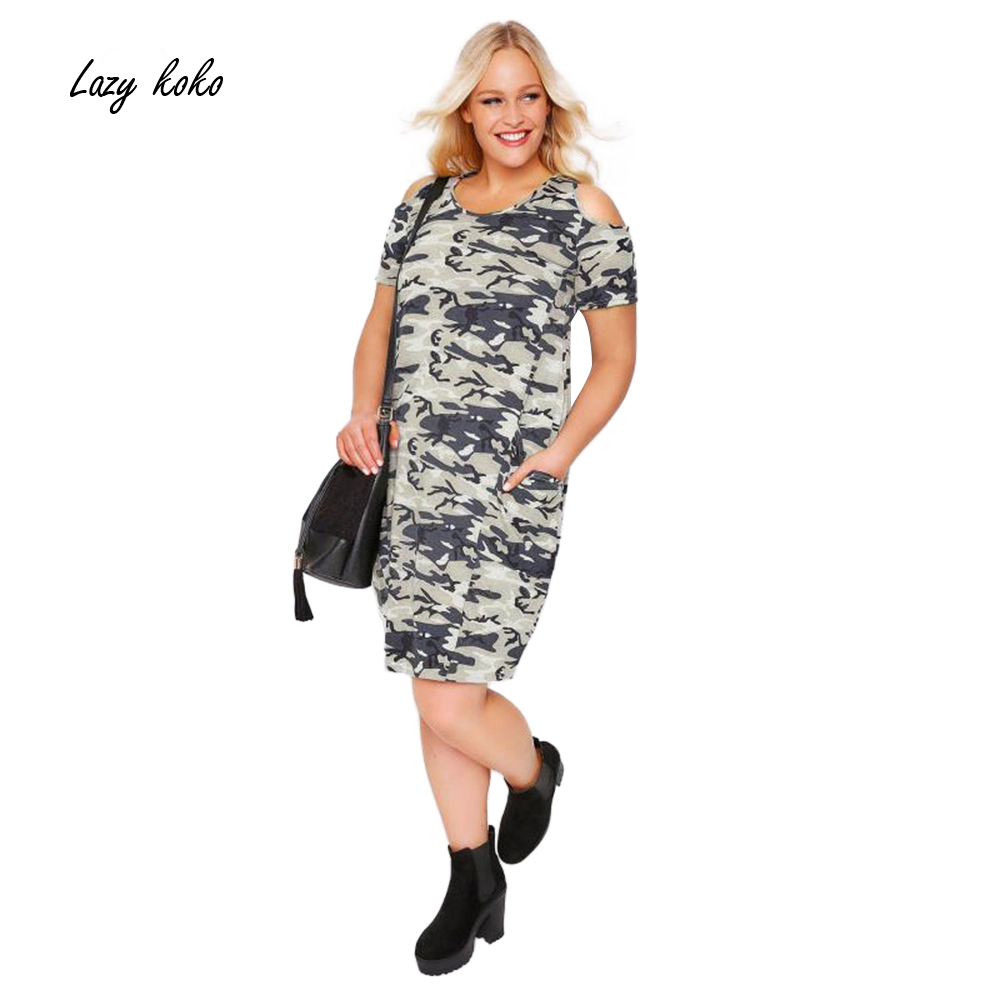 Lazy KoKo Plus Size New Fashion Women Clothing Casual Camouflage Cold Shoulder Dress Short Sleeve Big Size Dress 3XL 4XL 5XL 6XL ...