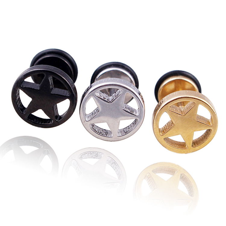Fashion Women Men Silver Gold Black Plated Stainless Steel Round Pentagram Star Stud Earrings Small Brincos Jewelry