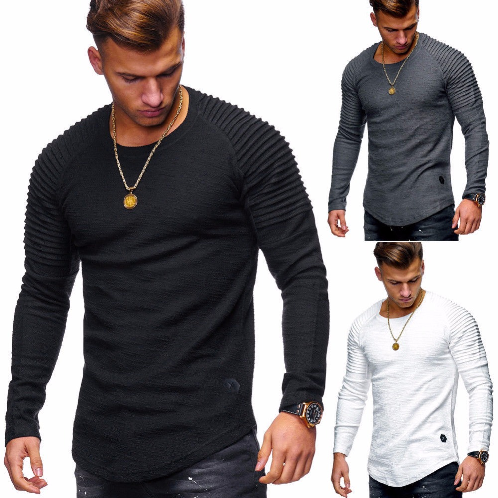 2018 New Fashion Men's Round Neck Slim Solid Color Long-sleeved   T  -  shirt   Striped Fold Raglan Sleeve Style   T     shirt   Men Tops Tees