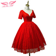 AnXin SH Red lace Evening dress spring summer bride s red evening dress pregnant woman princess