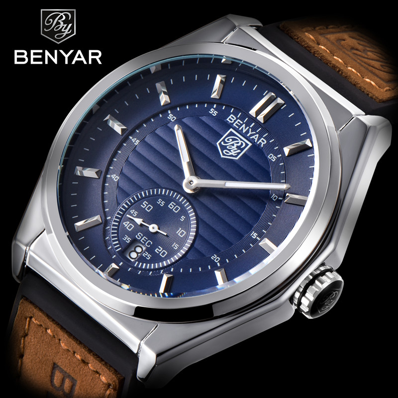 2018 BENYAR New Fashion Mens Watch Top Brands Luxury Stainless Steel Military Leather Waterproof Quartz Clock Relogio Masculino