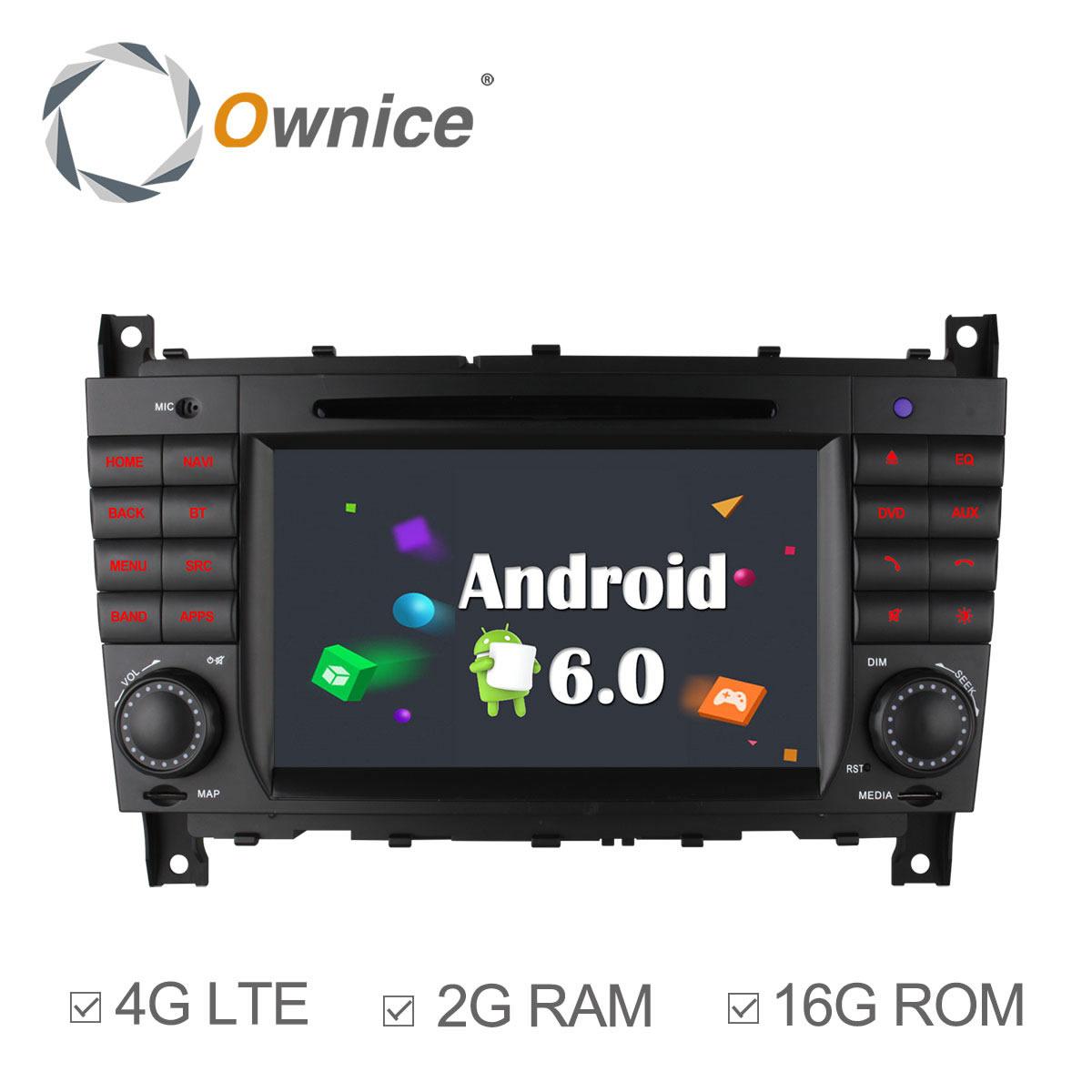 4G SIM LTE 1024X600 Quad Core Android 6.0 Car DVD Player for Mercedes C CLS CLC CLK Class W203 W209 W219 GPS Navigation Radio