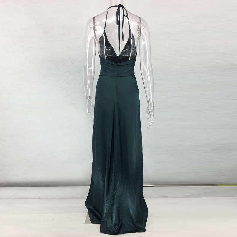 33499faf725 ... high waist sexy double slit dresses satin evening party gowns green red  pink maxi dresses night