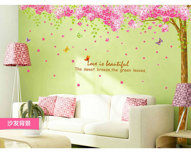 Romantic Cherry Flowers Family Tree Home Decoration Wall Stickers Cheap Wall  Decor Art Decals Bathroom Decor